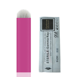 Image 1 - 18u 0.18mm 핀 10 pcs 마이크로 영원한 메이크업 눈썹 문신 블레이드 microblading 바늘 3d 자 수 수동 문신 펜