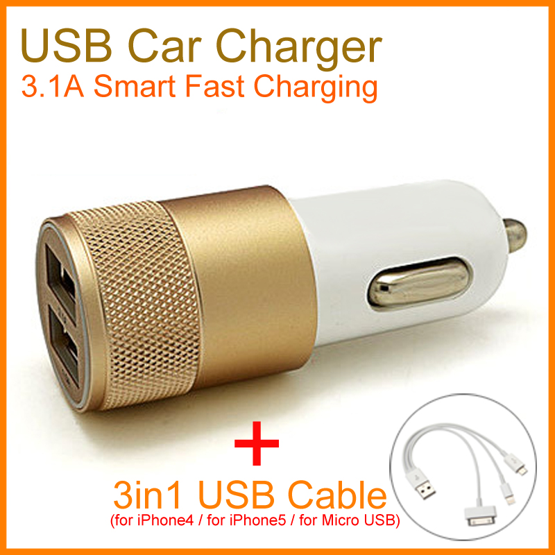 3.1A Dual USB Car Charger 2 Port Universal Fast Charging For iPhone for iPad for Mobile Phone With 3in1 USB Charger Cable