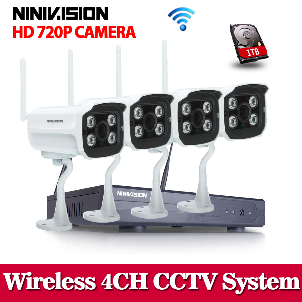 NINIVISION Home Security Wifi Wireless IP Camera System 720P CCTV SET 3G WIFI 1.0MP Outdoor HD NVR Surveillance cctv Kit 1TB HDD image