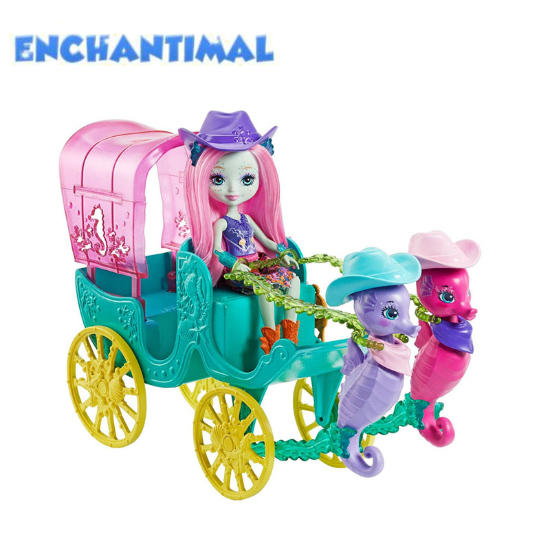 2018 Enchantimals Dolls Preena Penguin Doll & Ice Cream Playset Sandella Seahorse and Friends and Western-Styled Coach Doll Toys