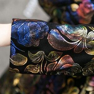 Image 5 - Ücretsiz kargo renkli çiçek baskı hakiki deri trençkot gerçek kuzu derisi deri palto moda uzun giyim artı boyutu