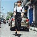 2017 a primavera eo verão maré dos homens de personalidade casuais calças jardineiras macacão meia-calça pés calças Slim Macacão trajes cantor