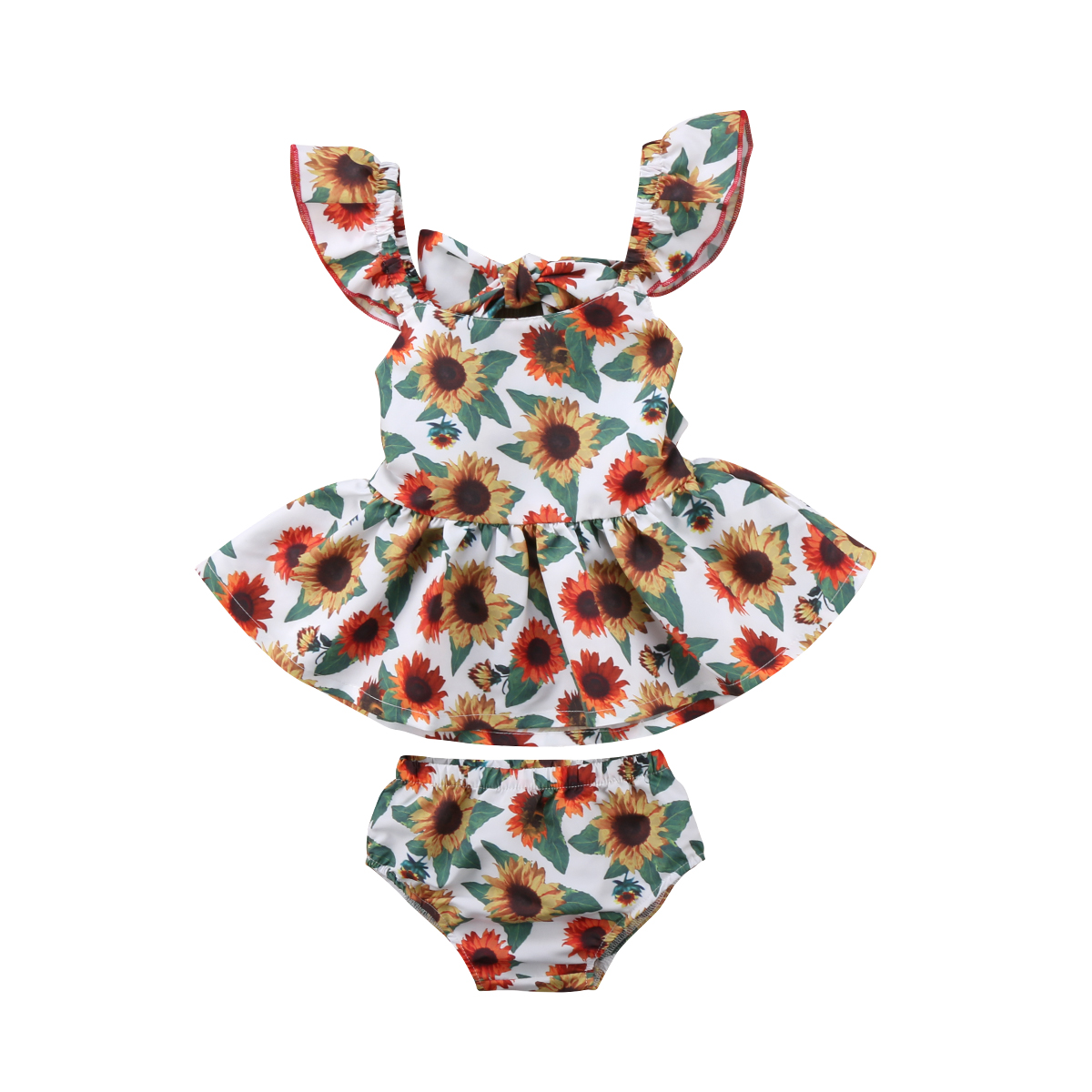 Newborn Baby Girl Floral Clothes Set Ruffles Sleeve Backless Sunflower Mini Dress Tops Baby Bloomers Shorts 2PCS Summer
