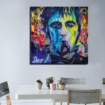 Póster de lienzo abstracto de hombre sin cara para fumar, pintura de...