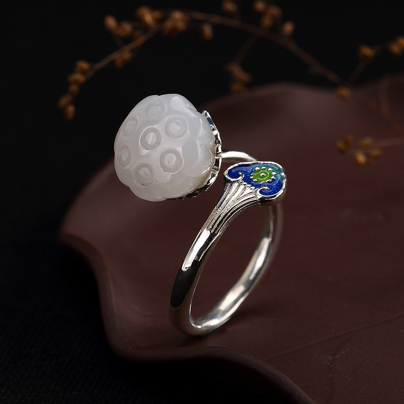 Quality In Excellent Constructive Hot Silver S925 Sterling Silver And Tian Yu Lotus Cloisonne Mosaic Ring