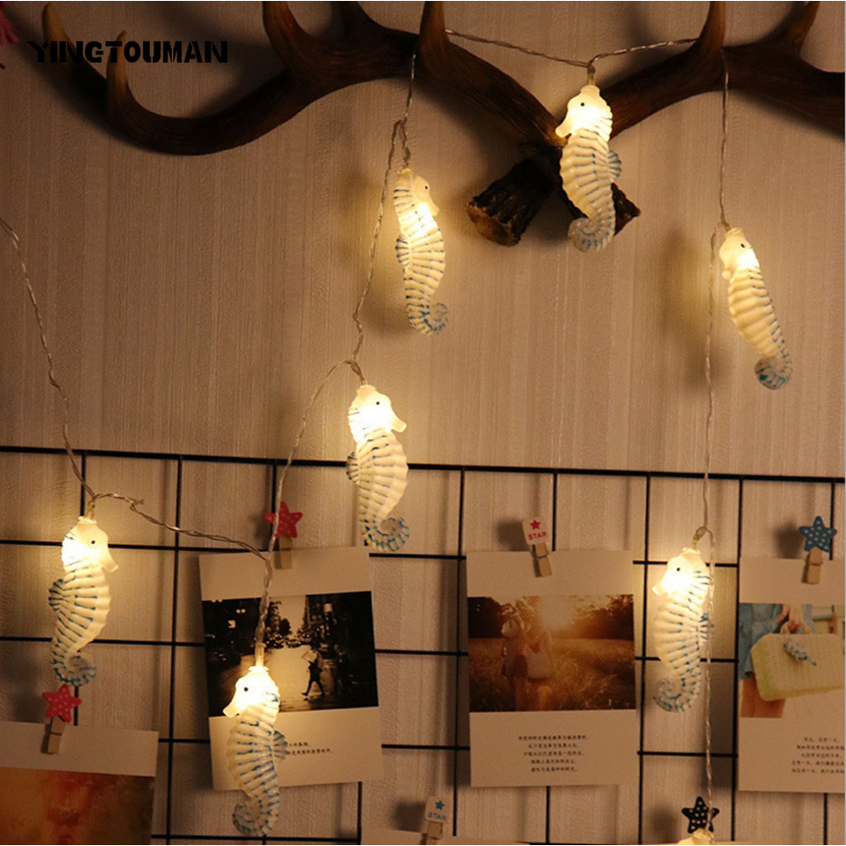 YINGTOUMANT Cute Sea Horse USB Type LED Lamp String Light Christmas Holiday Wedding Party Festival Decoration Lighting 8m 40LED