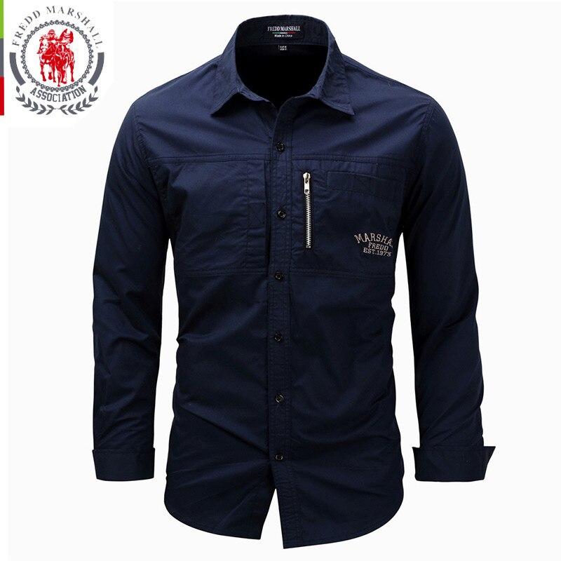 FREDD MARSHALL Men's Shirts 2019 Casual Slim Fit 100% Cotton Long Sleeves Men zip Shirt   4