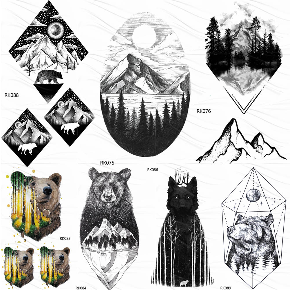 OMMGO Geometric Mountain Forest Temporary Tattoos Sticker Diamond Bear Moon Custom Tattoo Black Peak Body Art Arm Fake Tatoos