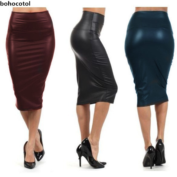 Bohocotol 2019 влітку для жінок плюс розмір зі штучної шкіри з високою талією, спідниця-олівець чорна шкіряна спідниця S / M / L / XXXL