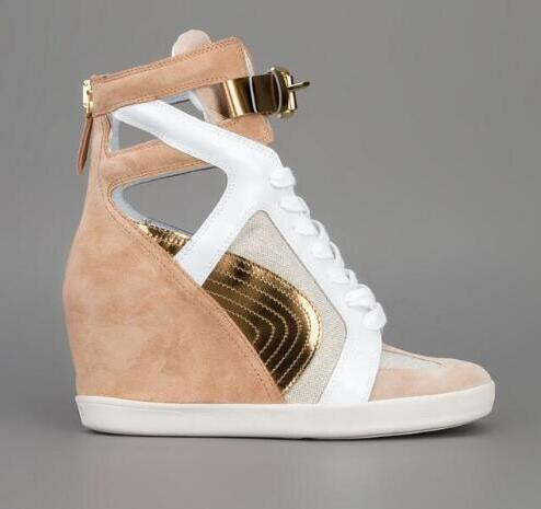 Newest women fashion casual shoes 2018 Spring buckle strap hollow out wedges shoes hot selling patchwork suede shoes women