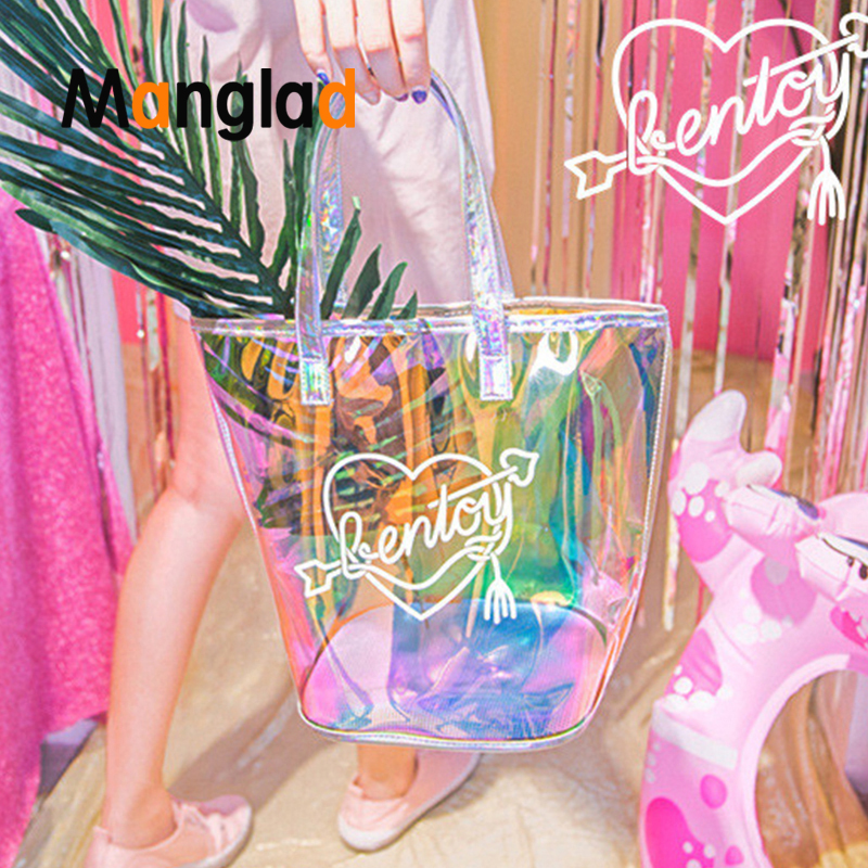 Girls Hologram Travel Shopping Baglaser Bags Large Capacity Transparent Shoulder Bags Fashion Waterproof Handbag