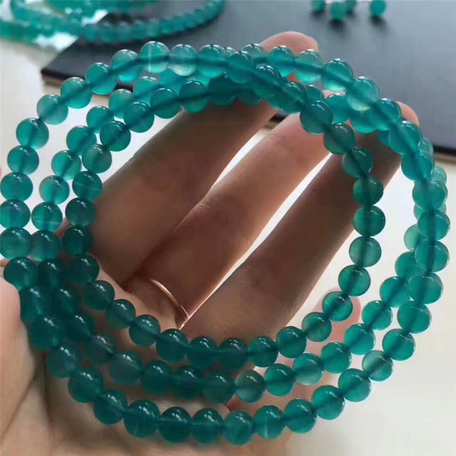 Natural Mozambique Ice Amazonite Bracelets For Women Lady Stretch Crystal Round Bead 3 Laps Bracelet Jewelry Accessories Gift
