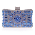 New 2017 Glass Diamond Gold Day Clutch Evening Bags High Quality Elegant Blue Bag Party Wedding Bridal Purse Messenger Bag L494