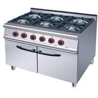 Коммерческих Кухня оборудования с кабинетом 6 газовых горелок Пособия по кулинарии диапазон газ, электрическая духовка многофункциональны