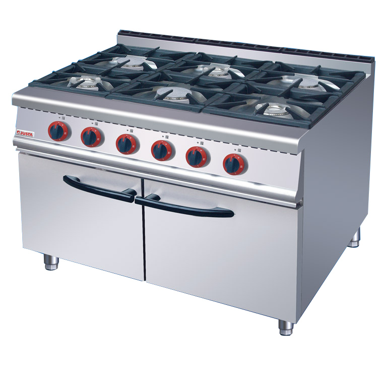 Commercial Kitchen Equipment With Cabinet 6 Burners Gas Cooking Range Gas Electric Oven Multifunctional Cooker