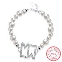 Ann & Tuyết 19 cm Chain Shell Pearl Bracelet 925 Sterling Silver bạc Vòng AAA Pha Lê Chữ Charm Bracelets Đối Với Phụ Nữ Jewelry H011