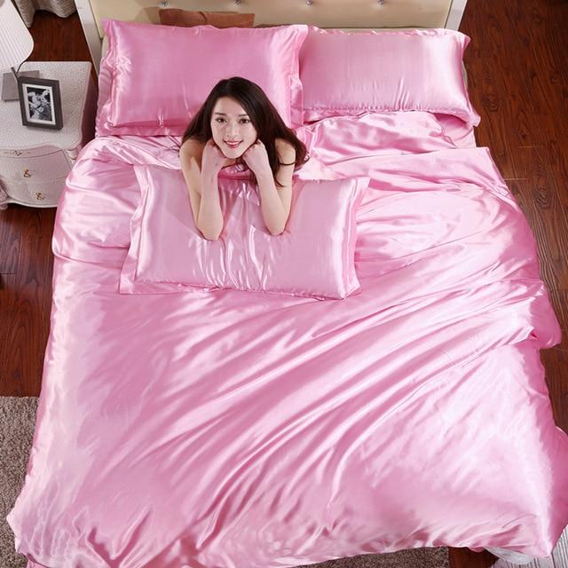 Silk Light Pink Satin Bedding Sets Solid Satin Quilt Cover