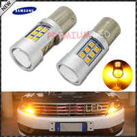 2pcs High Power Amber Yellow Error Free Samsung LED 2835 SMD BAU15S 7507 PY21W 1156PY LED
