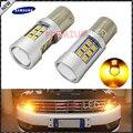 2 unids alta potencia ámbar amarillo libre de errores samsung 2835-smd led 1156PY BAU15S 7507 PY21W LED Bombillas Para Recepción de Señal de Vuelta luces