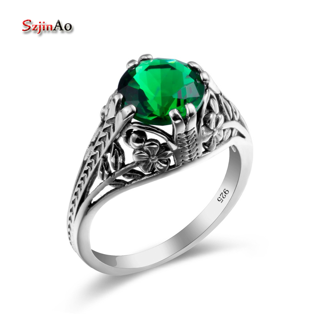 Szjinao Carved Clover Ring Silver Emerald Jewelry Vintage Boho 100% 925 Silver Jewelry Rings For Women Birthday Gift