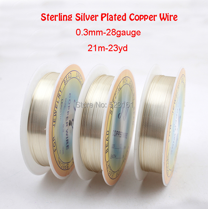 0.3mm 21m 23yd Sterling Silver Plated Copper Wire Reel for Jewelry ...