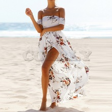 CUERLY women Boho style long dress Off shouCUERLYer summer beach dresses Floral print Vintage Flower maxi de festa
