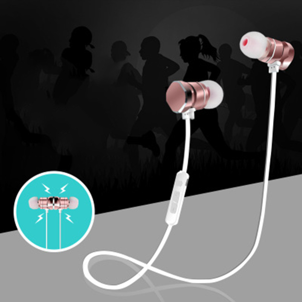Bluetooth 4.1 Magnetic Stereo Wireless In-Ear Earphone With Mic For Iphone Android Smartphone Xiaomi Aluminum Alloy 2017 New em290 copper wire earphone in ear with mic clear 3d sound quality handsfree call for android ios smartphone oppo xiaomi mp3 pc