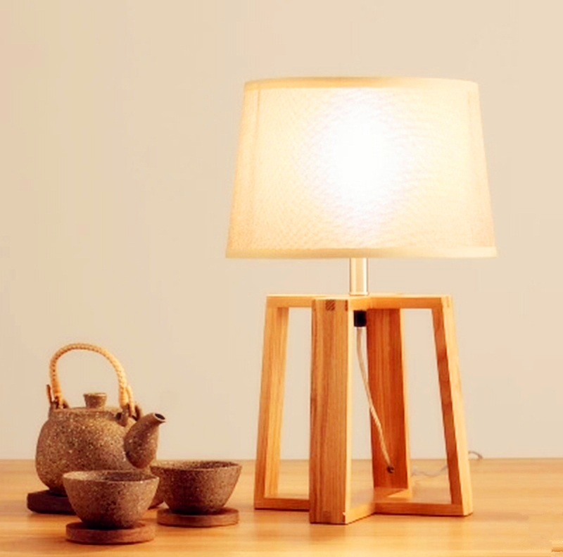 Novel wooden Table Lamp 420mm Modern Industrial lamp wood&cloth table lamp for reading Style desk lighting E27 Bedside lamp боди quelle name it 1005676