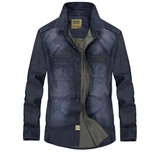 sports shoes 5f15e e964d US $24.28 10% di SCONTO|Camicia da uomo di marca denim camicia uomo manica  lunga casual slim fit jeans camicia cowboy style camisa masculina chemise  ...