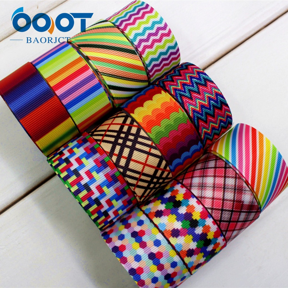 OOOT BAORJCT 174156,25mm geometry Printed grosgrain ribbon,DIY handmade,Wedding decoration materials, Valentines Day essential ...