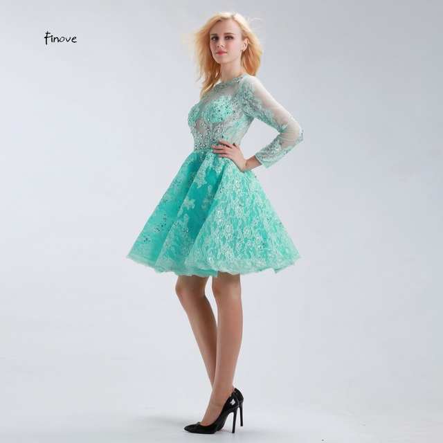 32723d46c18 New Short Cocktail Dresses 2017 Long Sleeve Tulle See Through Lace Beading  Sexy Mint Green Short Prom Dresses Robe de Soiree