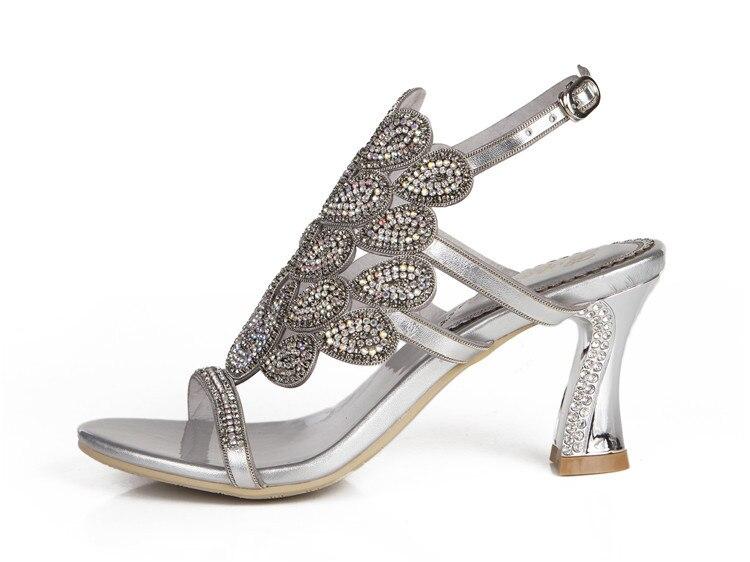 G-sparrow 2018 Summer Korean Rhinestone Slipper Silver Elegant Wedding Shoes Womens Crystal High Heel Sandals14