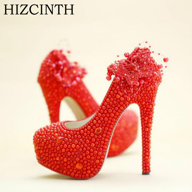 HIZCINTH Chinese Wedding Shoes Woman Red Pearl Crystal High Heels Platform Bride Pumps Elegant Brand Women Shoes Zapatos Mujer new pink red rhinestone diamond bride s shoes super high heels crystal bowl wedding shoes elegant sandals female pumps feminina