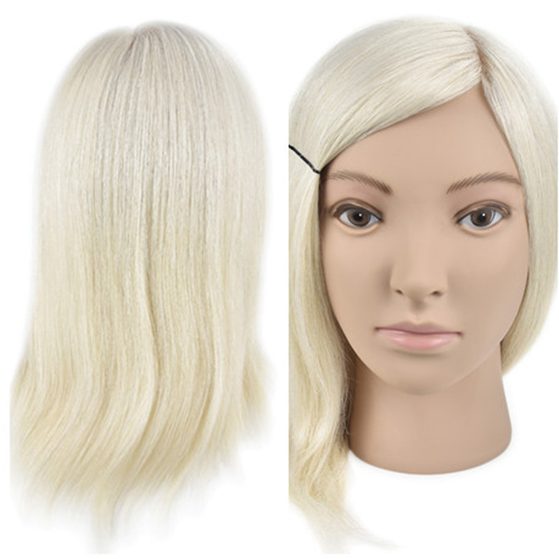 New Female 35cm White Real Human Hair Salon Hairdressing Training Practice Mannequin Head Wig Dolls Hairstyles Training Manikin hot sale 8 male mannequin head 100% virgin human hair hairdressing training head hairstyles manikin head dolls with free clamp