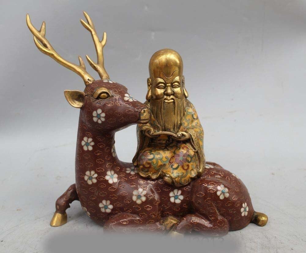 10China Pure Bronze Cloisonne Longevity Immortal God Ride sika deer Buddha stat10China Pure Bronze Cloisonne Longevity Immortal God Ride sika deer Buddha stat