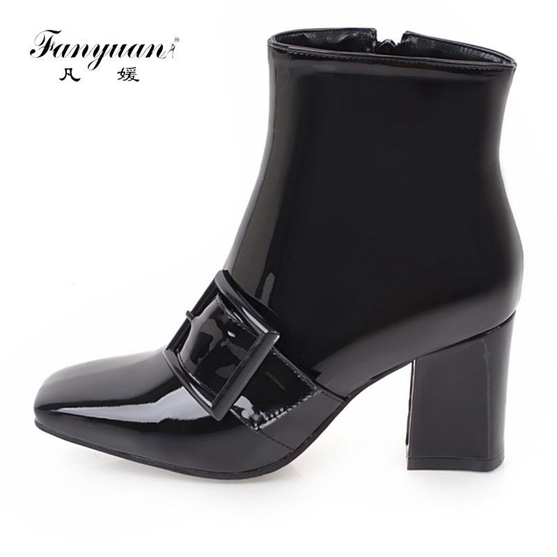 Fanyuan 2018 shoes fashion women ankle boots thick high heels square toe patent leather black ladies