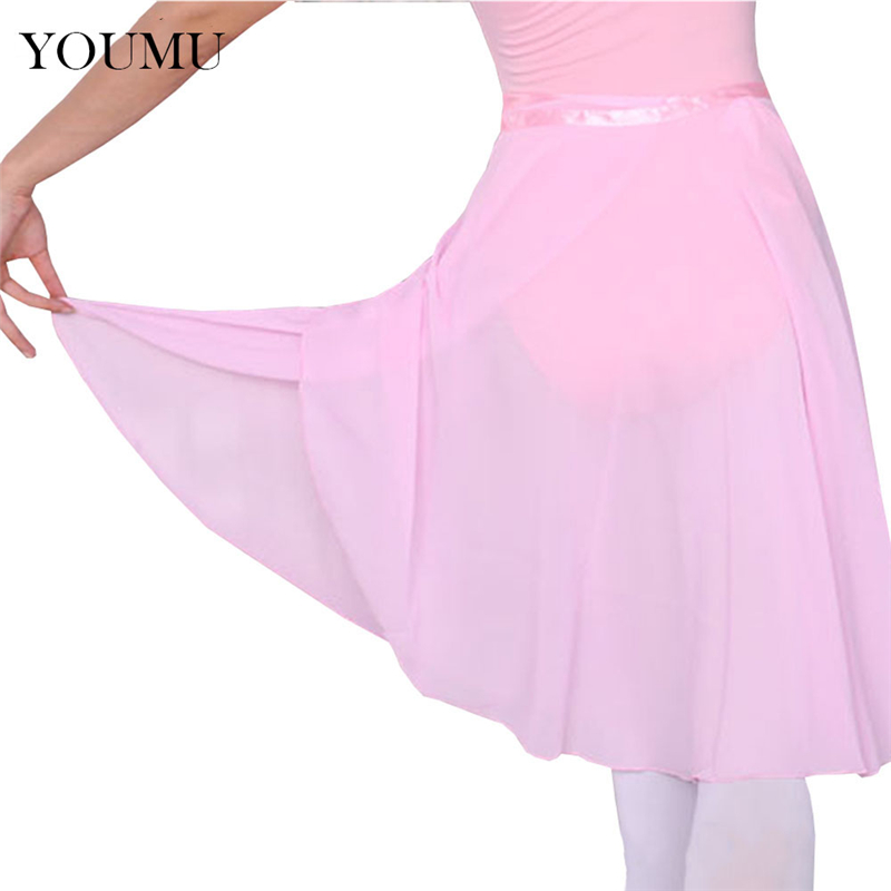 Women Professional Ballet Dance Skirt Multi Colors Knee-Length Chiffon Girl Skirts Natural Waist Preppy Style 904-194