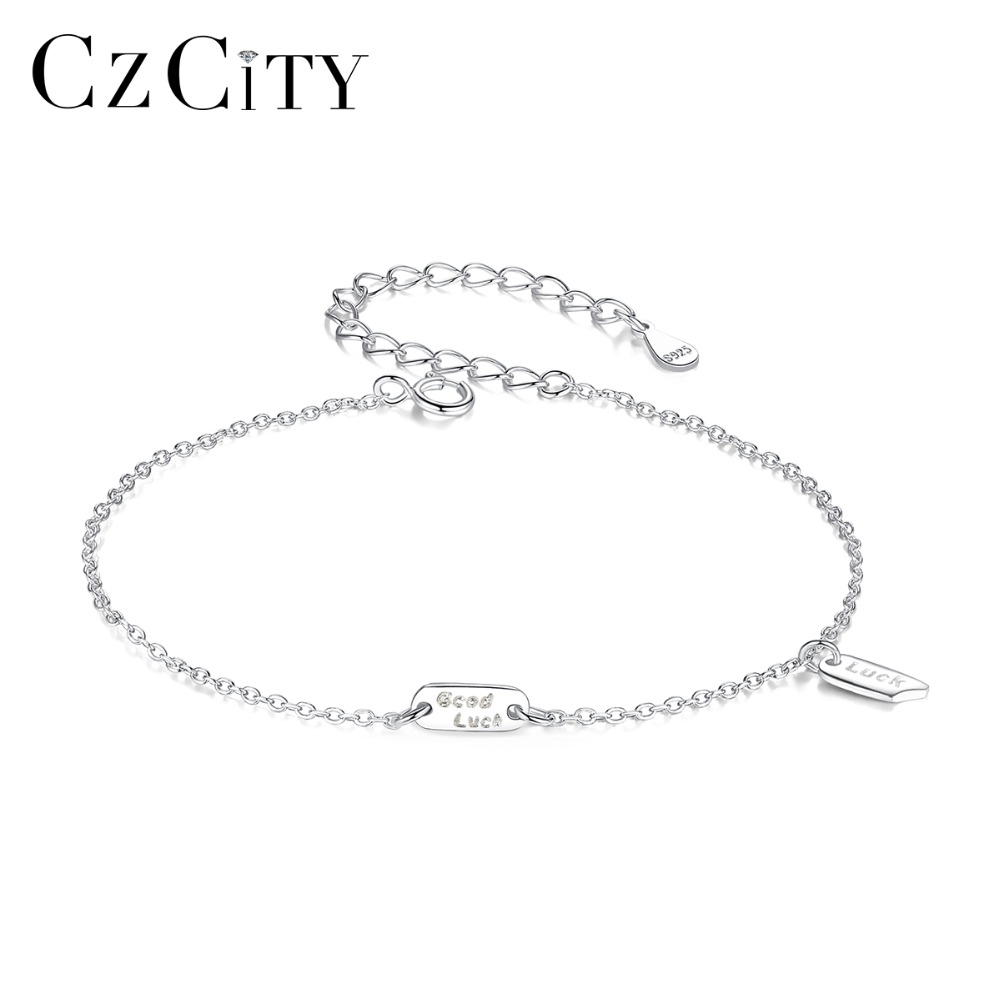 CZCITY 100% 925 Sterling Silver Good Luck Charms Bracelet for Women Simple Fashion Party Dating Female Bracelets Fine Jewelry