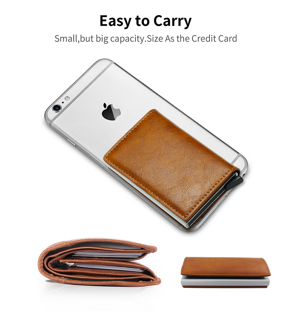 Mens Small Slim Leather Wallets Rfid Card Holder 32