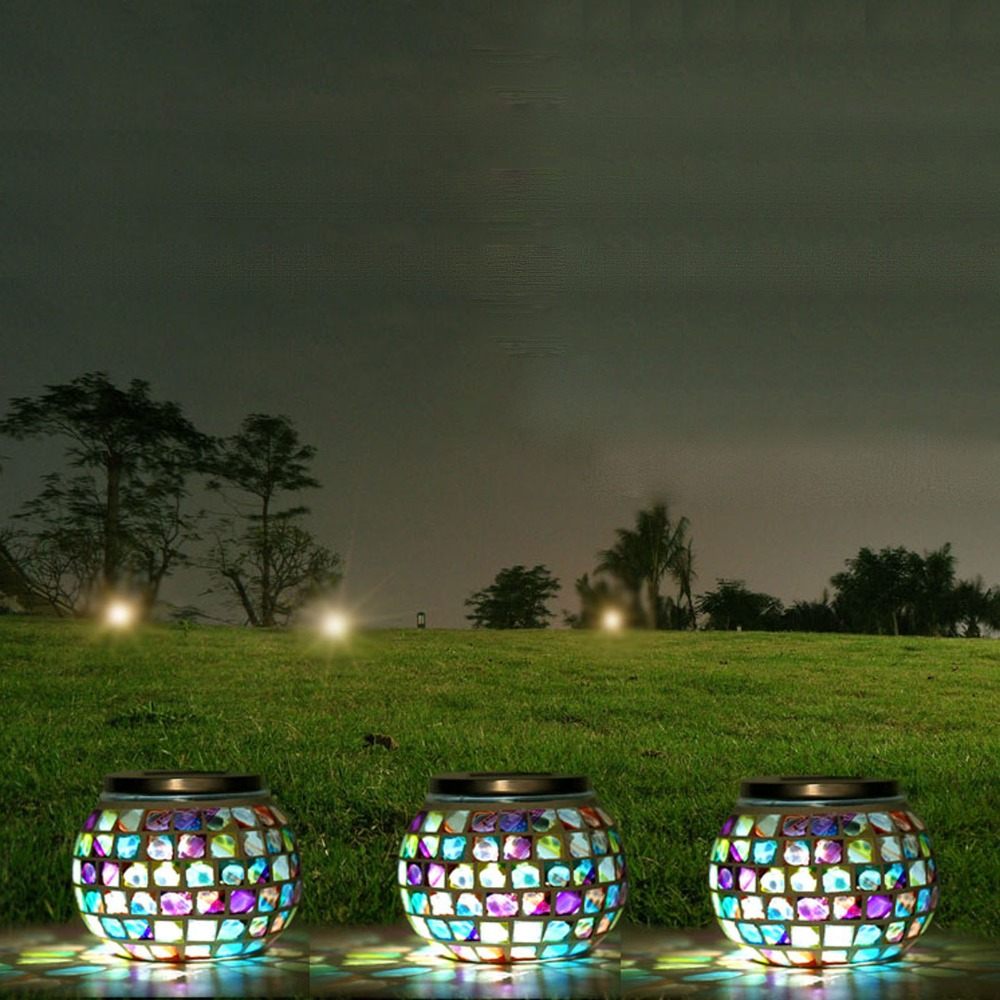 nova bola de vidro mosaico movido a energia solar jardim luzes coloridas mudar quintal varanda lampadas