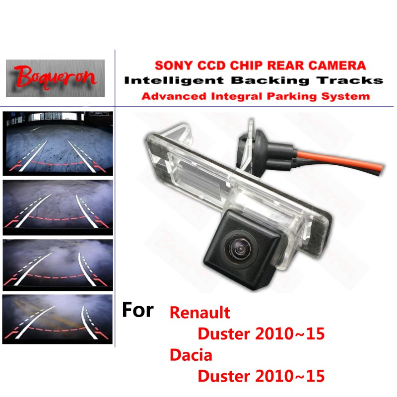 for Renault Duster for Dacia Duster 2010~2015 CCD Car Backup Parking Camera Intelligent Tracks Dynamic Guidance Rear ViewCamera for renault duster 2010 2014 smart tracks chip camera hd ccd intelligent dynamic parking car rear view camera
