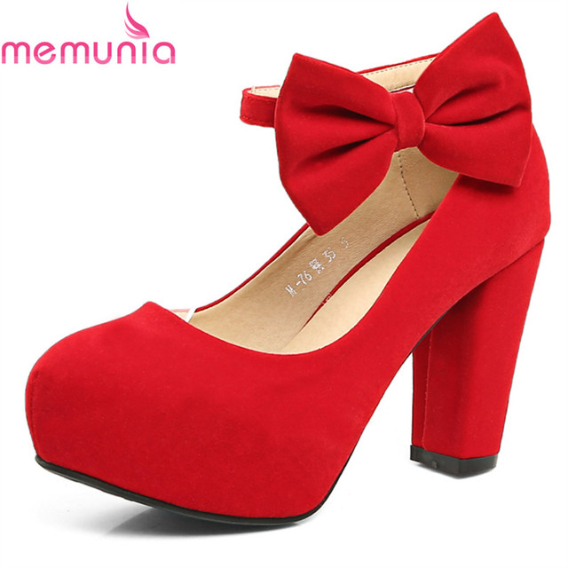 MEMUNIA plus size 2018 fashion red round toe platform shoes thick high heels  sexy wedding shoes spring autumn women pumps 8c7ea6e00d24