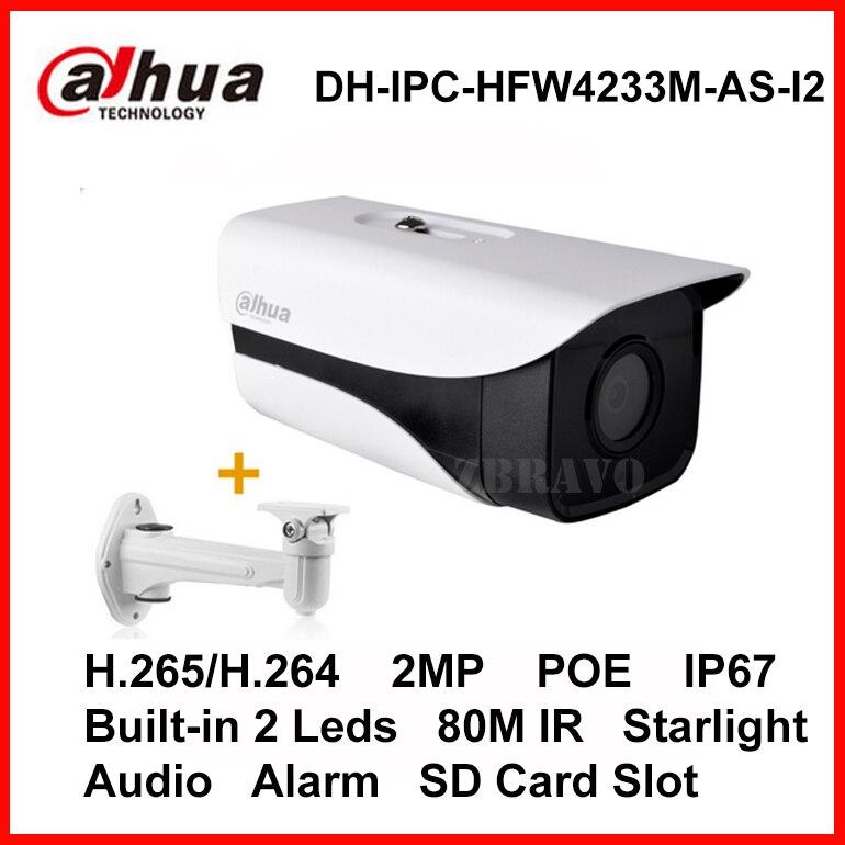 Dahua Starlight IP POE Camera 2MP DH-IPC-HFW4233M-AS-I2 Bullet IP Camera Micro SD Card Slot Audio Alarm IP67 80M Night Vision wholesale dahua dh ipc hdbw4233r as 2mp ir mini dome network ip camera ir poe audio sd card stellar h265 h264 ipc hdbw4233r as