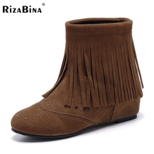 size 30-47 women flat half short boot fashion gladiator leisure tassel warm winter mid calf boots brand footwear shoes P21869