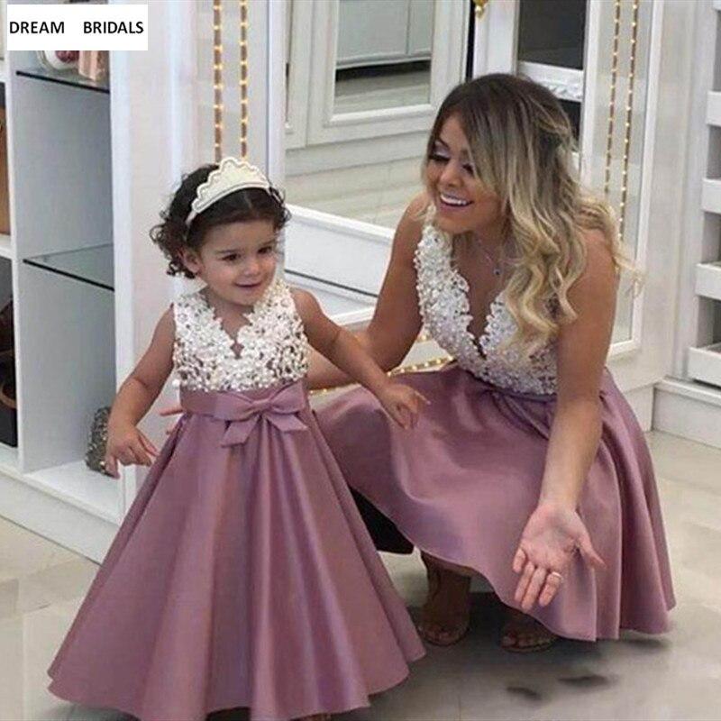 2019 Dusty Pearls V-Neck Sleeveless   Flower     Girl     Dresses   Vestidos daminha Kids Mother Daughter   Dresses