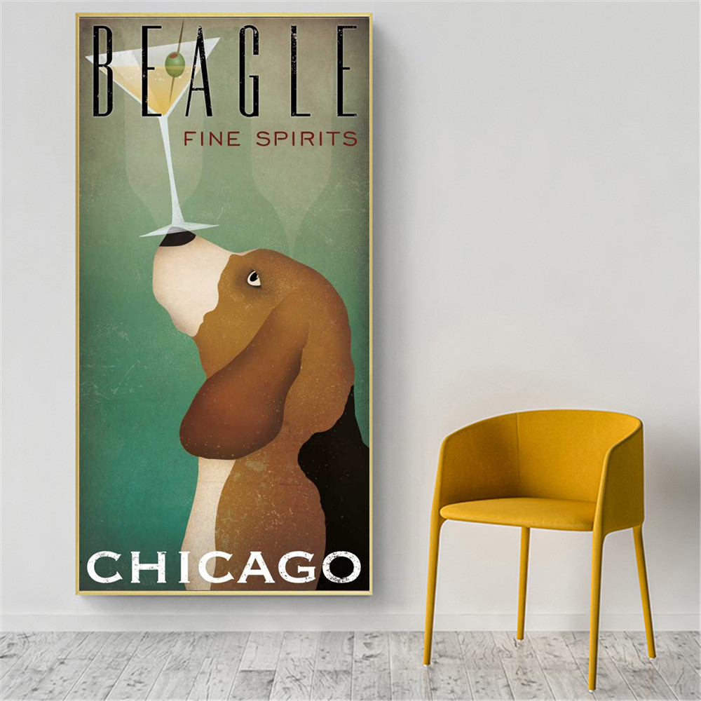Coffee Wall Art Retro Dog Vintage Poster Prints Canvas Pictures for Living Room Modern Minimalist Wall Painting Home Decor(China)