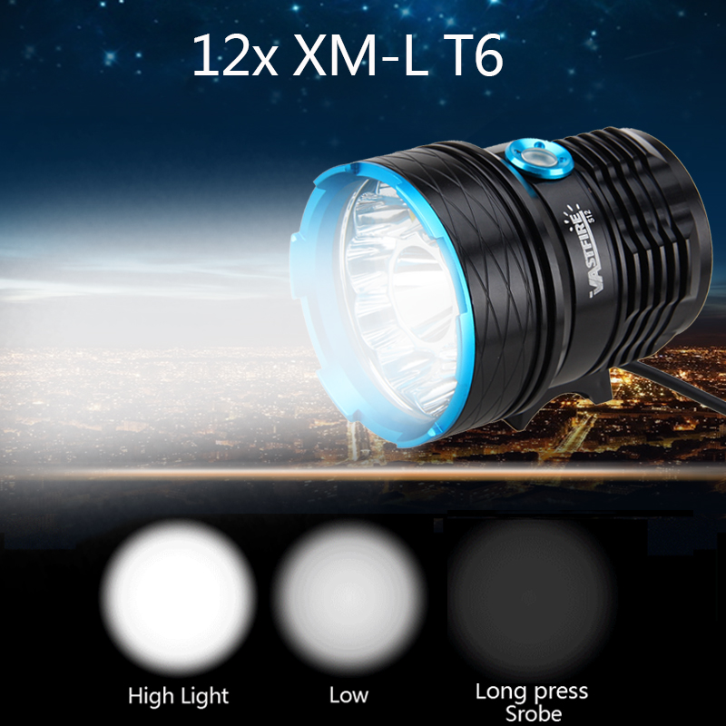 Rechargeable Head Bicycle Light 6000 Lumens 12 LED lamp beads Bike light Lamp Torch Headlight Only light