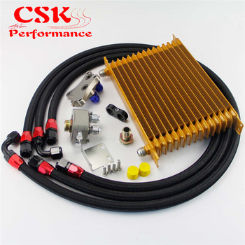 15 Row 262mm AN10 Oil Cooler Kit Fits For Nissan Silvia S13 S14 S15 180SX 200SX 240SX SR20DET Black/Blue/Gold