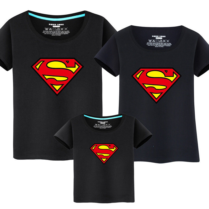 Family Matching Clothes Parent Kid Look Superman T Shirts Summer Father  Mother Kids Cartoon Outfits New 69ec71d626
