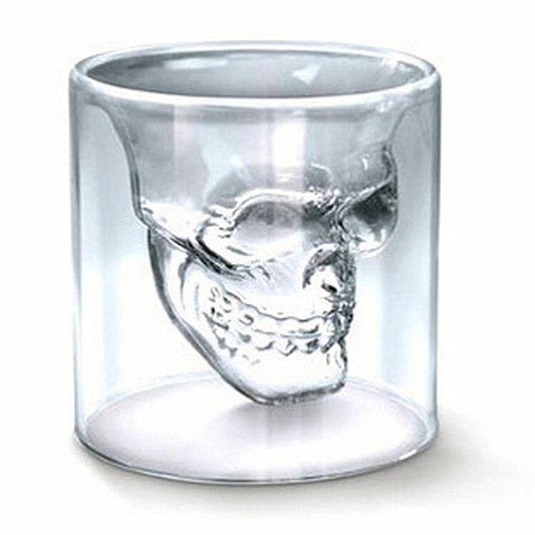 New creative crystal skull shape tea cup 75ml 150ml 250ml heat resistant glasss cup transparent kung fu tea set drinkware gift